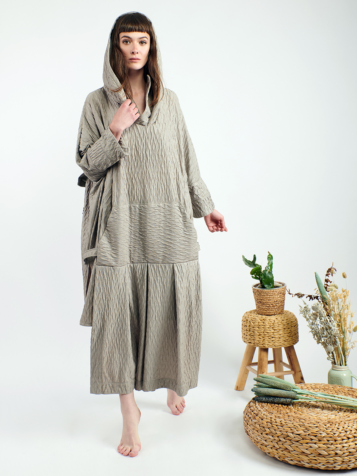 Textured oversize long hoddie