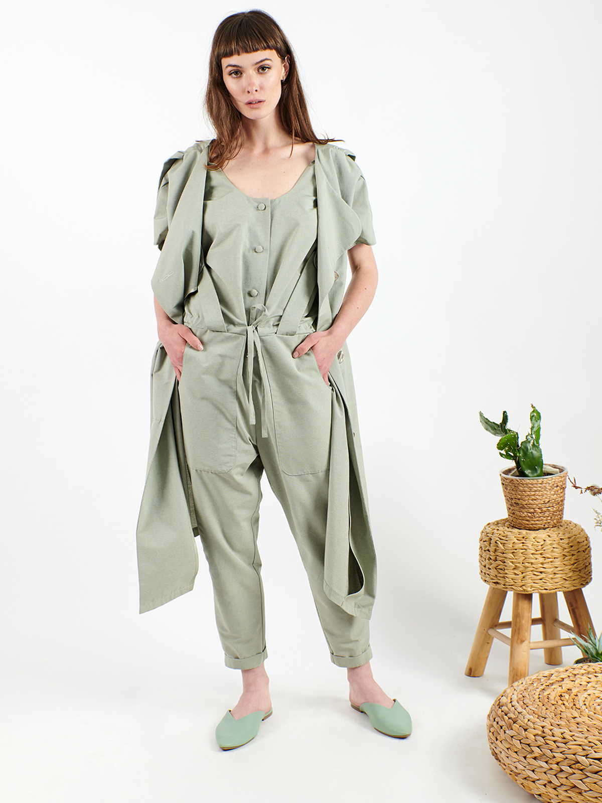 2 in 1 jumpsuit with front vest included
