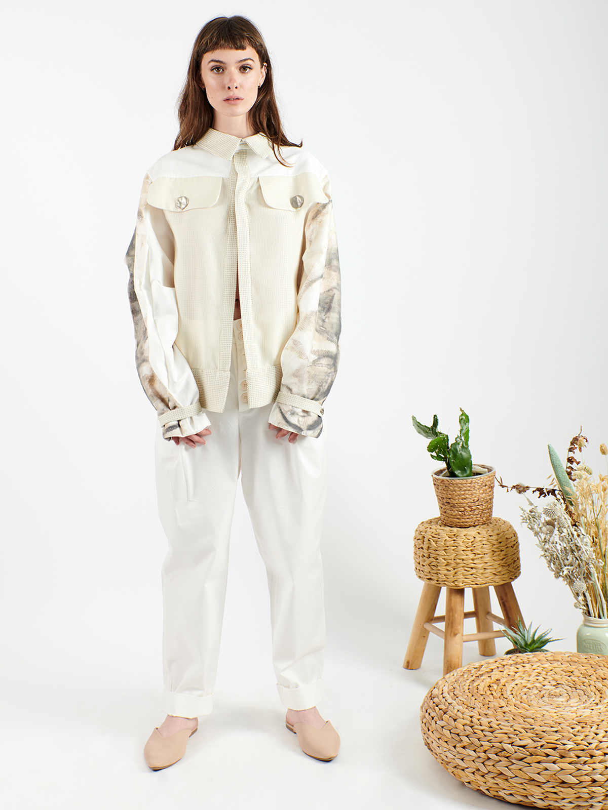 Jacket with digitally printed sleeves with signature drawings.