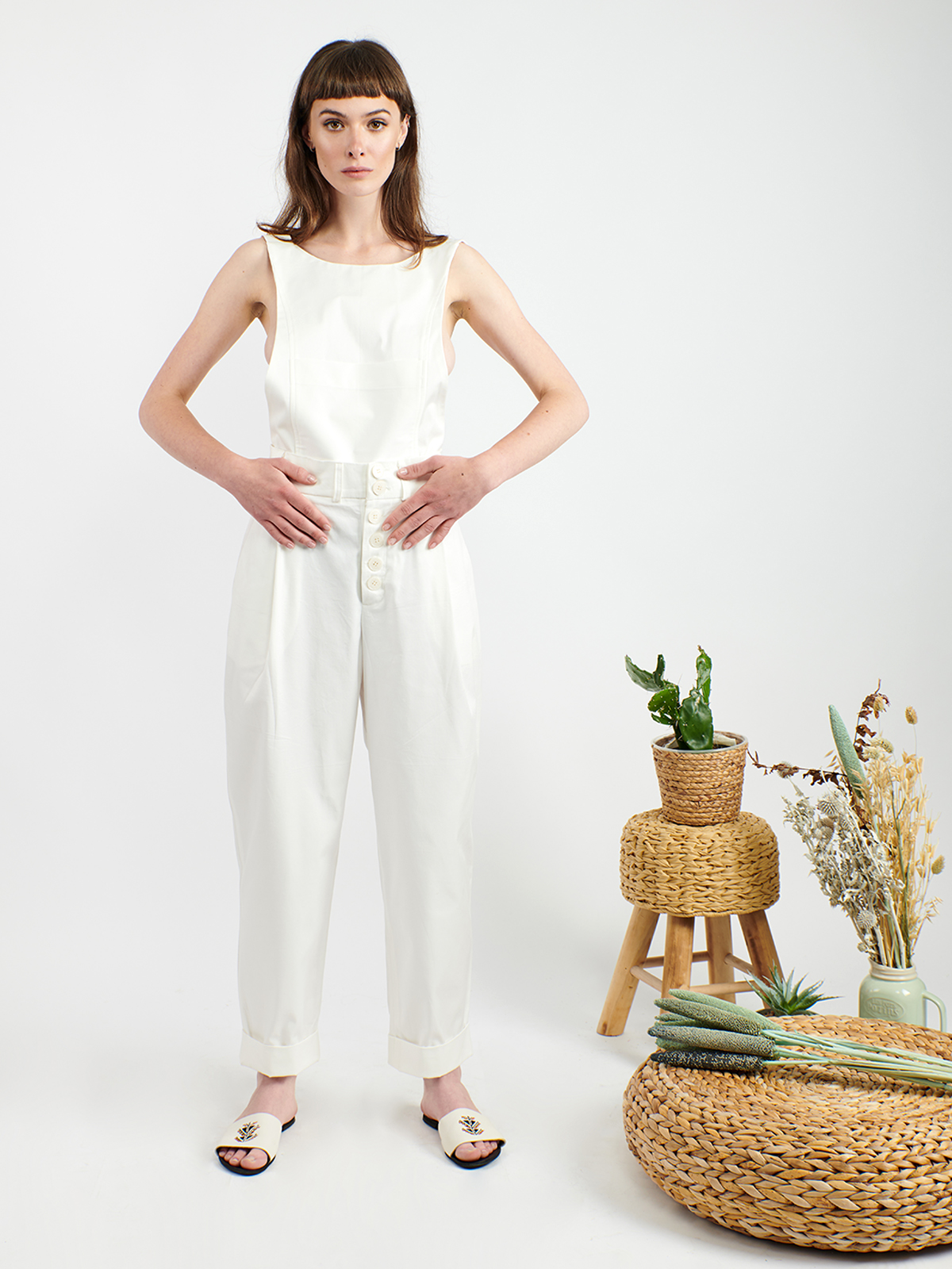 White cotton overall with removable top
